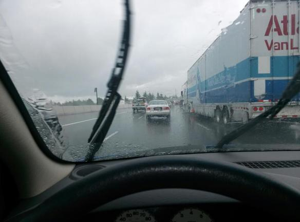 Driving through Tacoma at rush hour, in the rain, was actually very relaxing after four days of working my butt off getting ready to move. Here there was no need to hurry.
